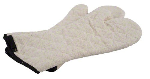 San Jamar 817TM Heavy Duty Terry Cloth Temperature Protection Oven Mitt, 17'' Length, Natural