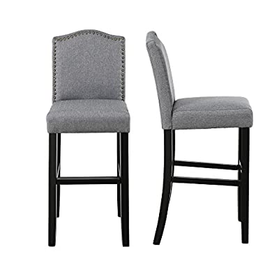 LSSBOUGHT Nailhead Barstools with Solid Wood Legs