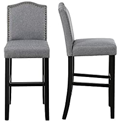 LSSBOUGHT Nailhead Barstools with Solid Wood Legs, Set of 2 (Gray)