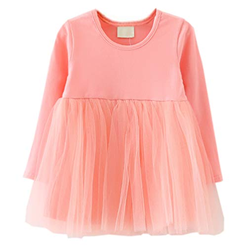 LYXIOF Baby Girls Toddler Tutu Dress Long Sleeve Princess Dress Infant Tulle Dress 2-Pink 18 Months -