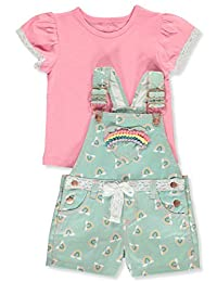 Colette Lilly Girls' Rainbows and Lace 2-Piece Shortalls Set Outfit
