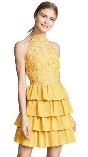 Ewa Herzog Women's Halter Neck Lace Dress, Pale Yellow, 8