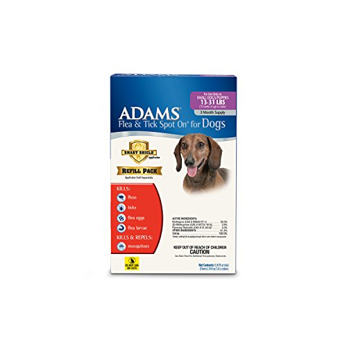 Adams Flea and Tick Spot On for Dogs, Small Dogs 13-31 Pounds, 3 Month Supply, Refill, No Applicator