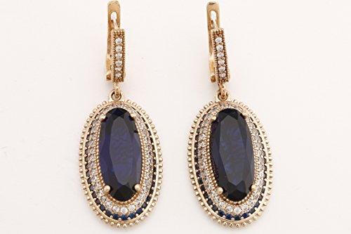 Turkish Handmade Jewelry Long Oval Shape Sapphire and Round Cut Topaz 925 Sterling Silver Dangle/Drop Earrings