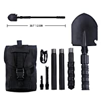IUNIO Military Portable Folding Shovel and Pickax with Tactical Waist Pack Army Surplus Multitool for Camping, Hiking, Backpacking, Fishing, Trench Entrenching Tool, Car Emergency etc. by Iunio