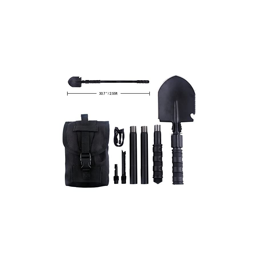 IUNIO Military Portable Folding Shovel and Pickax with Tactical Waist Pack Army Surplus Multitool for Camping, Hiking, Backpacking, Fishing, Trench Entrenching Tool, Car Emergency etc.