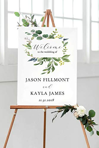 Dozili Wedding Welcome Sign Printable Greenery Wedding Sign