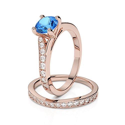 Or Rose 18carats 1CT G-H/VS sertie de diamants Coupe ronde Topaze bleue et de mariage Bague de fiançailles et ensemble de Agdr-2011