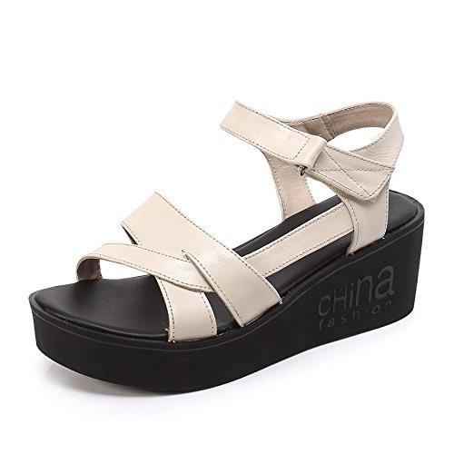 Xing Lin Sandalias De Mujer Verano Nuevo Cuero Sandalias Casuales Mujeres Con Grosor Inferior Con Zapatos De Suela Suave Transpirable Beige
