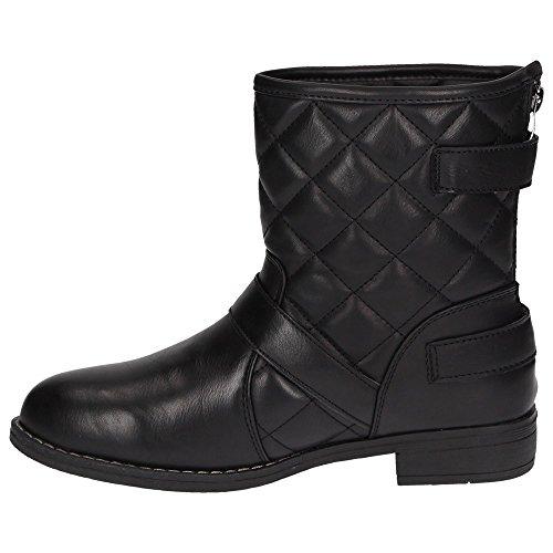 Claudia Ghizzani 2275064 Mädchen Damen Stiefelette Biker Boots Stepp-Optik Schwarz Schwarz