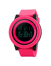Mens Wristwatches Sport Watch LED Quartz Watch Outdoor Waterproof Digital Alarm Stopwatch