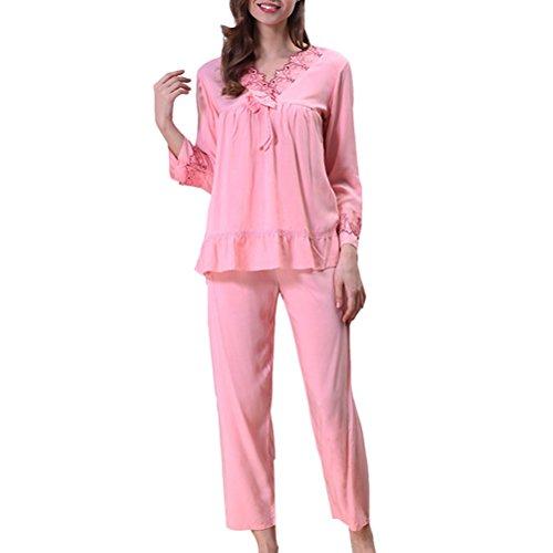 Zhhlaixing Women's Temperament V-collar Nightwear Comfort Long Sleeve Sleepwear Set Pink