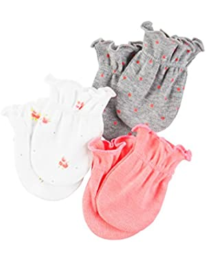 Unisex Baby Mittens (Baby) - Pink/Grey Polka Dots- 0-3M