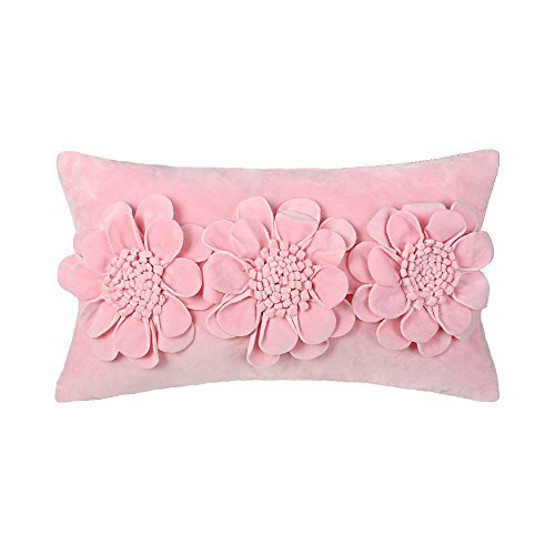 JWH 3D Rose Flowers Accent Pillow Case Super Soft Fabric Cushion Cover Home Sofa Bed Living Room Office Chair Car Travel Decor Pillowslip Gift 12 x 20 Inch Pink ()