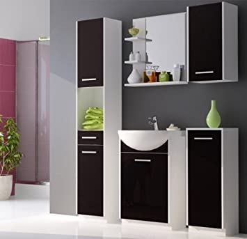 Badezimmermöbel schwarz  Badmöbel Set Badezimmermöbel mit Waschbecken weiß matt schwarz ...