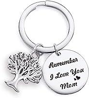 Llavero con colgante para madre de hija hijo mamá, recuerdo I Love You Mom, joyería para mujer, accesorio para
