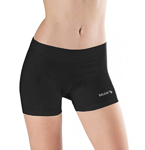 (Baleaf Women's Cycling Underwear 3D Padded Cycling Shorts for Spinning, Cycle, Biking Black Size S)