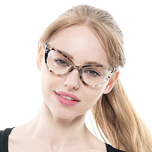 SOOLALA Womens Oversized Fashion Cat Eye Eyeglasses Frame Large Reading Glasses, BlackYellow, ()
