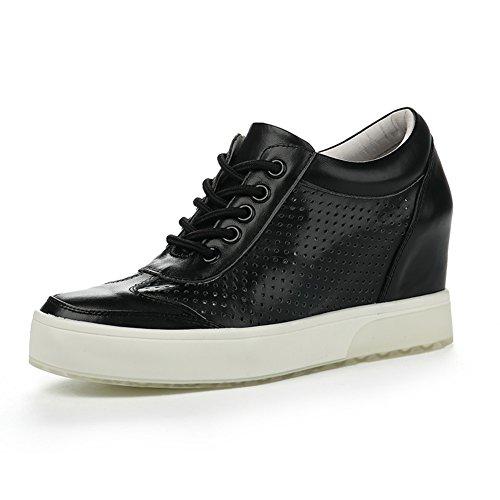 PUMPS Inner-Erhöhung Damenschuhe,Dicken Sohlen Keile,Leder Freizeit Strap Schuhe-A Fußlänge=23.8CM(9.4Inch)
