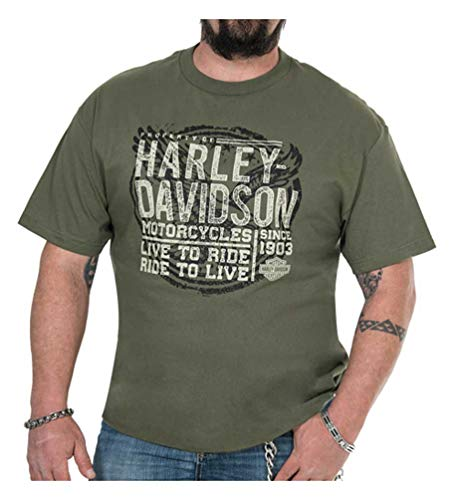 - Harley-Davidson Men's Vintage Stamp Short Sleeve Crew Shirt, Military Green (XL)