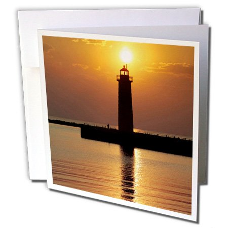 (3dRose MI Muskegon Lighthouse on Lake Michigan US23 RER0002 Ric Ergenbright Greeting Cards, Set of 12 (gc_91212_2))