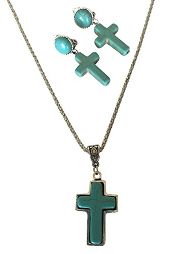 Cross Silver-Tone Framed Turquoise Stone Beautiful Necklace & Earrings Set