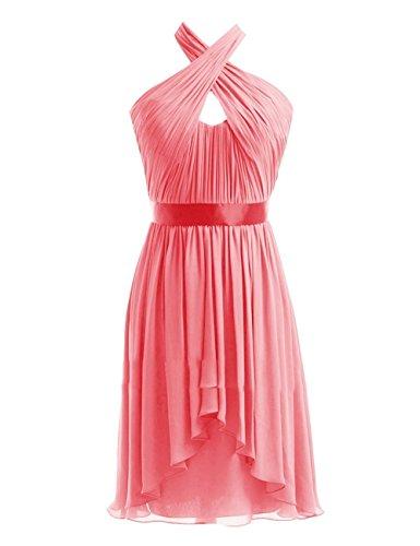 Black Damen Wedding Coral Chiffon Party Kurz Brautjungferkleider Fanciest Halter Kleider gp7Aw7v