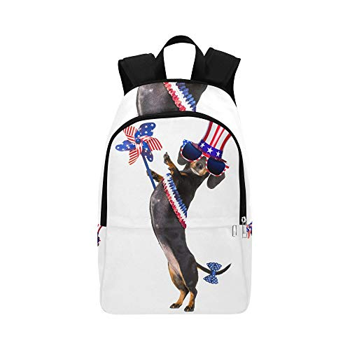 Dachshund Sausage Dog Waving Flag USA Casual Daypack Travel Bag College School Backpack for Mens and Women
