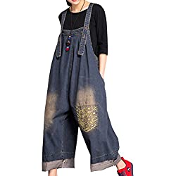 YESNO P91 Women Strap Rompers Jumpsuits Denim Casual Bib Pants 100% Cotton Embroidery Distressed Boyfriend Wide Leg