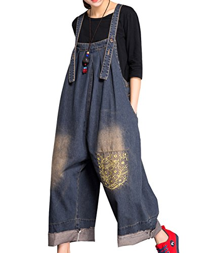 793821bdeec1 YESNO P91 Women Strap Rompers Jumpsuits Denim Casual Bib Pants 100% Cotton  Embroidery Distressed Boyfriend