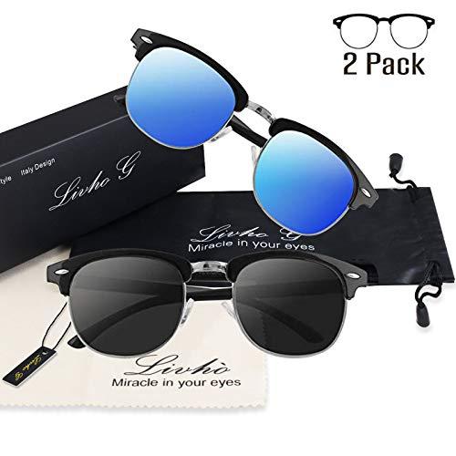 56ba80aa2ae Livhò Polarized Sunglasses Women Men Semi Rimless Frame Retro Sunglasses -  Buy Online in Oman.