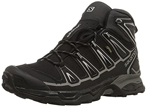 Salomon Men's X Ultra Mid 2 GTX Multifunctional Hiking Boot, Black/Black/Aluminum, 8 M US - Leather Mid Waterproof Boot