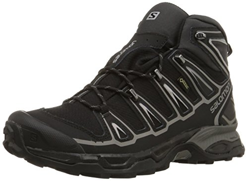 Salomon Men's X Ultra Mid 2 GTX Multifunctional Hiking Boot, Black/Black/Aluminum, 9.5 M US