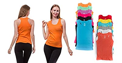 12 Pieces Pack Women's Ribbed 100% Cotton Tank Tops-Assorted Color