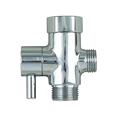 Hibbent Solid Brass 3-way T-adapter with Shut-off Valve Metal Toilet Water Diverter Valve with On Off for Water Pressure Control - Handheld Bidet Attachment and Replacement Part - Polished Chrome