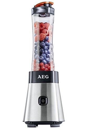 AEG PerfectMix SB 2400 Mini Mixer mit 0,4 PS-Power-Motor (bis zu 23.000 U/min, 4 Edelstahlmesser, bruchfeste 0,6 l BPA-freie Tritan-Trinkflasche, Standmixer mit gebürstetem Edelstahlgehäuse)