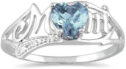 .50 Ct Genuine Aquamarine & Diamond Heart Mom Ring .925 Sterling Silver (Size 6.5)