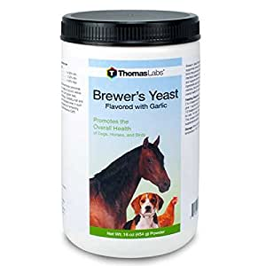 Thomas Labs Brewer's Yeast Flavored with Garlic (16 oz powder) Brewers Yeast for Dogs, Horses and Birds