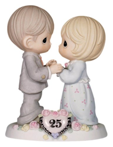 Love Porcelain Figurine - Precious Moments,  Our Love Still Sparkles In Your Eyes, 25th Anniversary, Bisque Porcelain Figurine, 115911