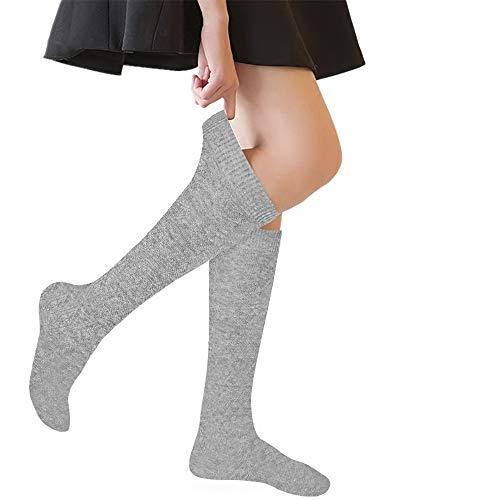 (Girls' Knee High Socks Cable Knit 4-10 Years Uniform Tube Cotton Socks Grey 3 Pairs)