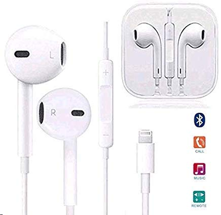 Aictoe Earbuds, Microphone Earphones Stereo Headphones Noise Isolating Headset Fit Compatible with iPhone 8/8 Plus/ 7/7Plus/ X/XS/XS Max/XR (White) ... (White)