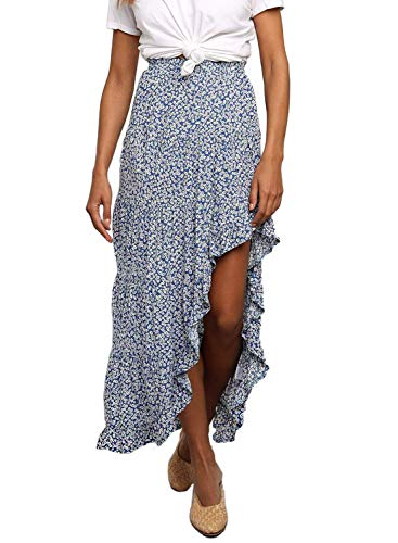 Dearlovers Women's High Waisted Floral Print Beach Boho Skirt Asymmetrical Dress Sky Blue Small