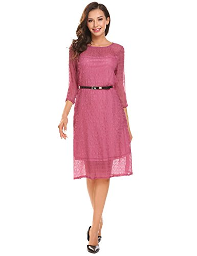 - Burlady Women's Chiffon Double Layers 3/4 Sleeve Casual Cocktai Party Belted Dress Violet Red Small