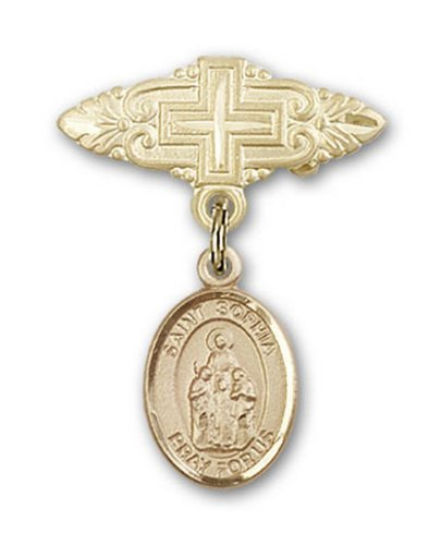 Icecarats Or Bijoux De Créateurs Rempli R. Sophia Broche De Badge Charme Avec Une Croix X 3/4