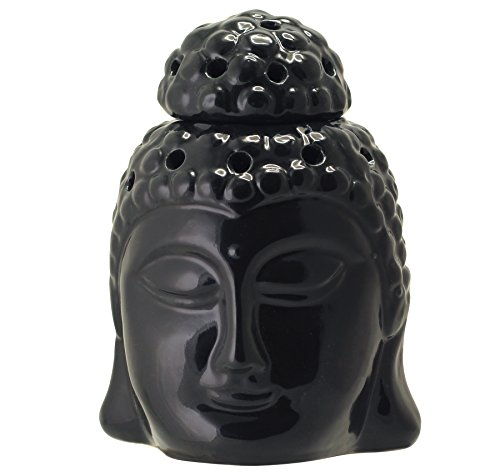 """ONE DAY SALE - Buddha Forefront Candle Ceramic aromatherapy furnace 6"""" - Essential Oil Burner - Aromatherapy Wax Tart Melt Warmer Diffuser Tealight Holder - Unsullied Aroma Lamp for Living Room / Home D'cor"""