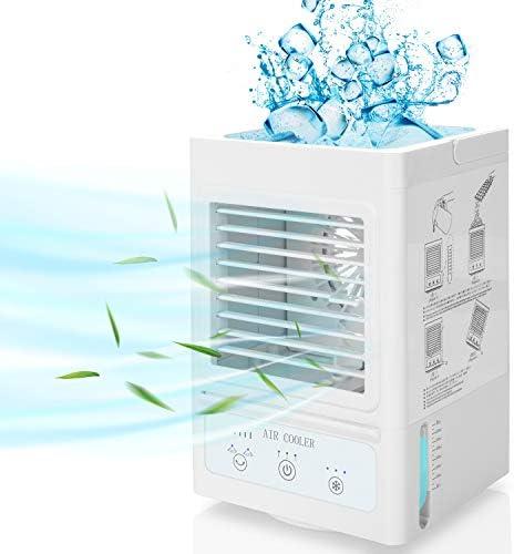 Fitfirst Climatiseur Mobile Silencieux avec 5000mAh Batterie Rechargeable, Mini-Refroidisseur d'Air Personnel à Oscillation 60°/120° Automatique, pour Bureau, Maison