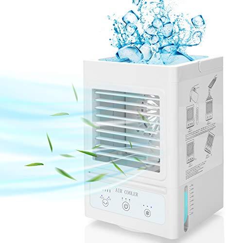 🥇 Fitfirst Acondicionador de Aire Portátil Batería Recargable Personal 5000mAh 180 ° Oscilación Automática con 3 Velocidades