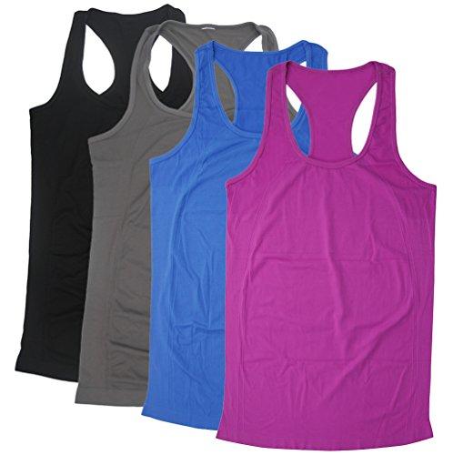 Tank Top For Women, BollyQueena Racerback Tank Fashion Workout Tank Top Women's 4 Packs Multicoloured S (Top Womens Racerback)