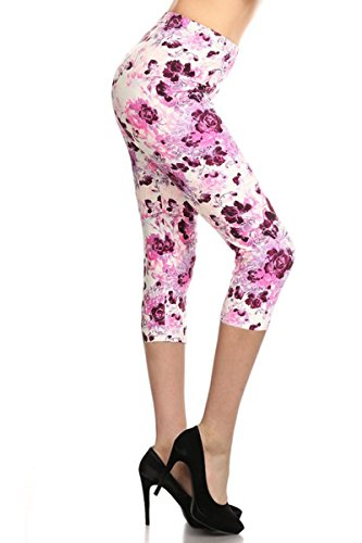 R689-CA-PLUS Romantic Affair Capri Print Leggings ()
