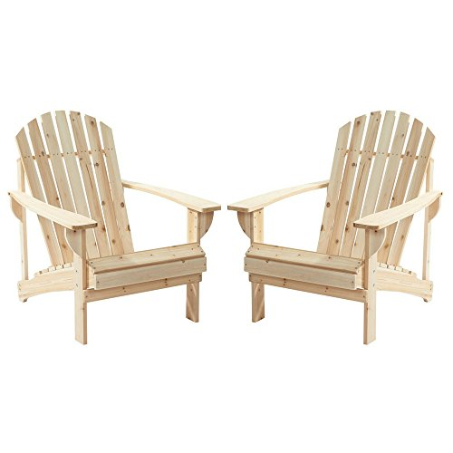 2-Pack Outdoor Folding Adirondack Chair, Hampton Bay, Adirondack Chair, Patio Chair, Wood Outdoor Furniture, Outdoor Chair, Patio Folding Chair (Choose Your Color) (Natural ()